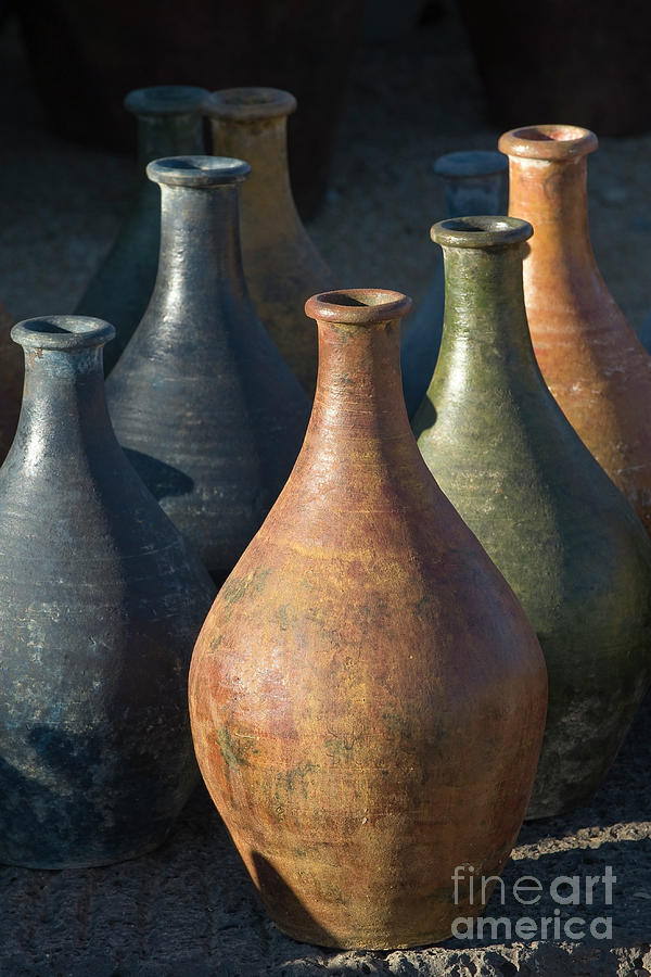 Southwest Photograph - Sunrise And Pottery by Sandra Bronstein