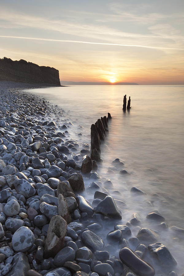 Vertical Photograph - Sunset At The Remains Of Lilstock Pier by Nick Cable