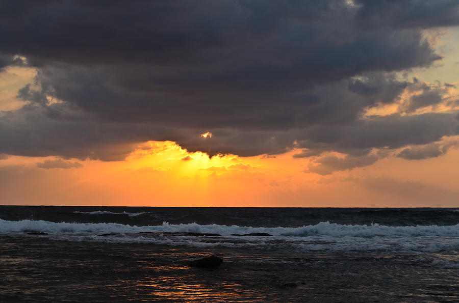 Mediterranean Photograph - Sunset over sea by Michael Goyberg