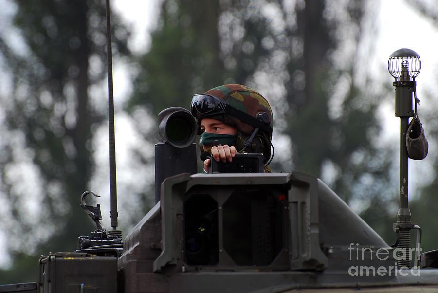 Adults Only Photograph - Tank Commander Of A Leopard 1a5 Mbt by Luc De Jaeger