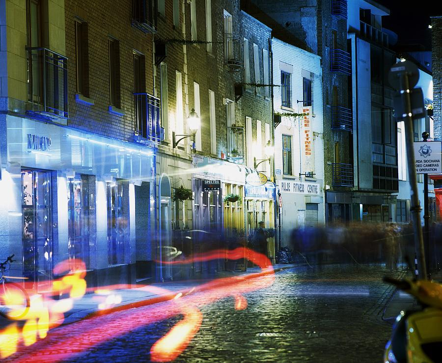 Blurred Motion Photograph - Temple Bar, Dublin, Co Dublin, Ireland by The Irish Image Collection