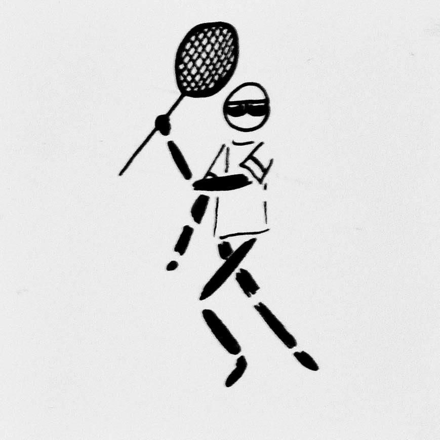 Icon Drawing - Tennis Guy by Robin Lewis