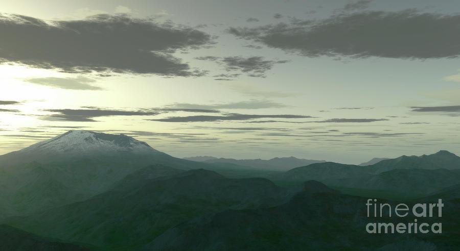 Horizontal Digital Art - Terragen Render Of Mt. St. Helens by Rhys Taylor