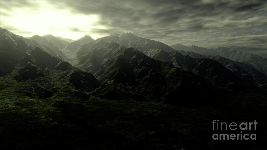 Horizontal Digital Art - Terragen Render Of Mt. Whitney by Rhys Taylor