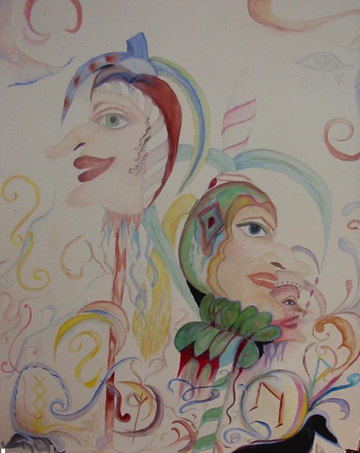 Watercolor Jesters Painting - The Baby Maker by Marian Hebert