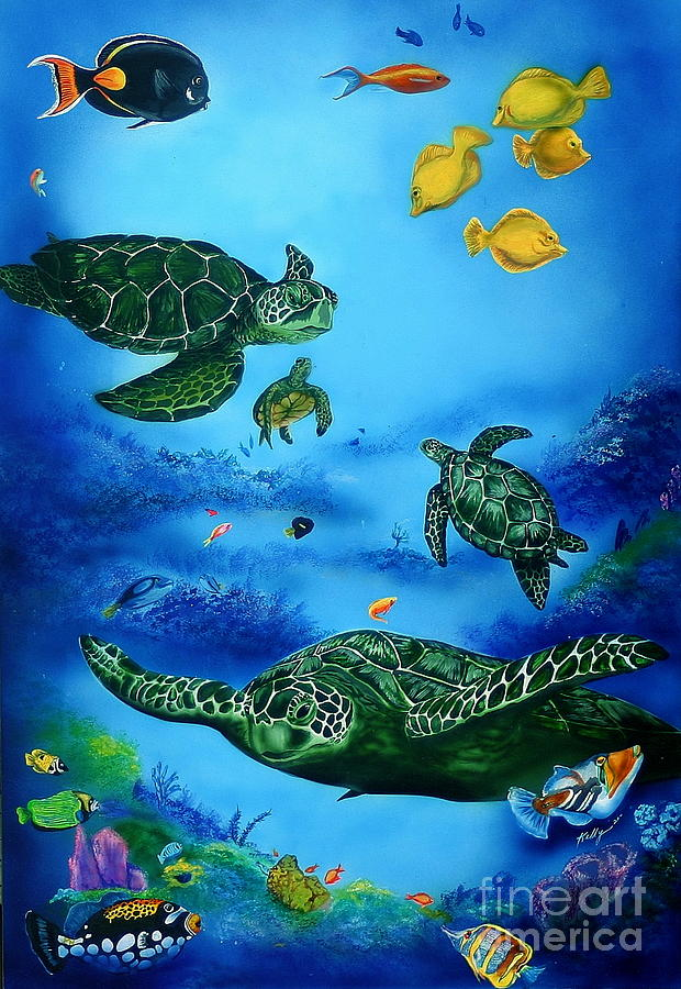Turtles Painting - The Beauty Below by Kathleen Kelly Thompson