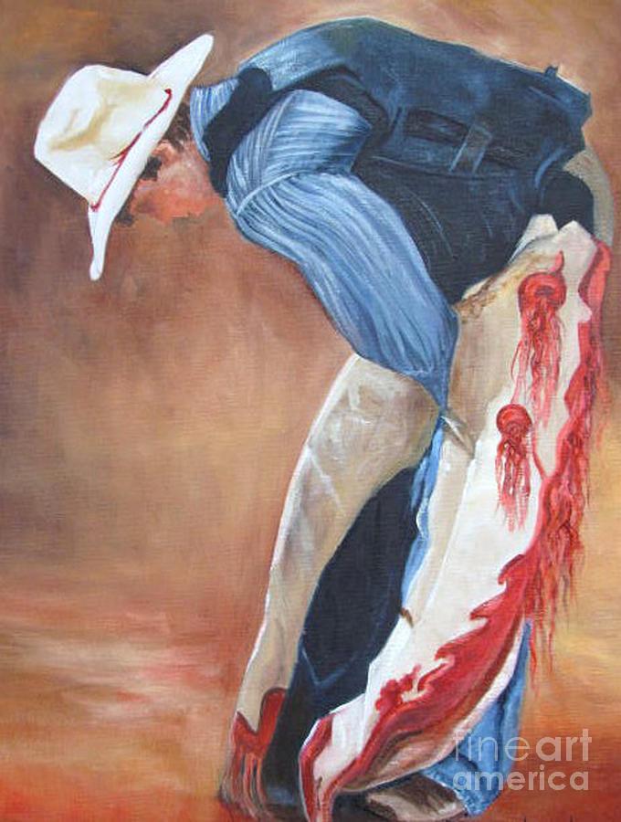 White Hat Painting - The Bull Rider by Barbara Haviland