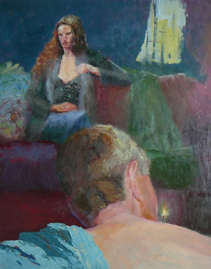Figurative Painting - The Cigarette by Irena  Jablonski