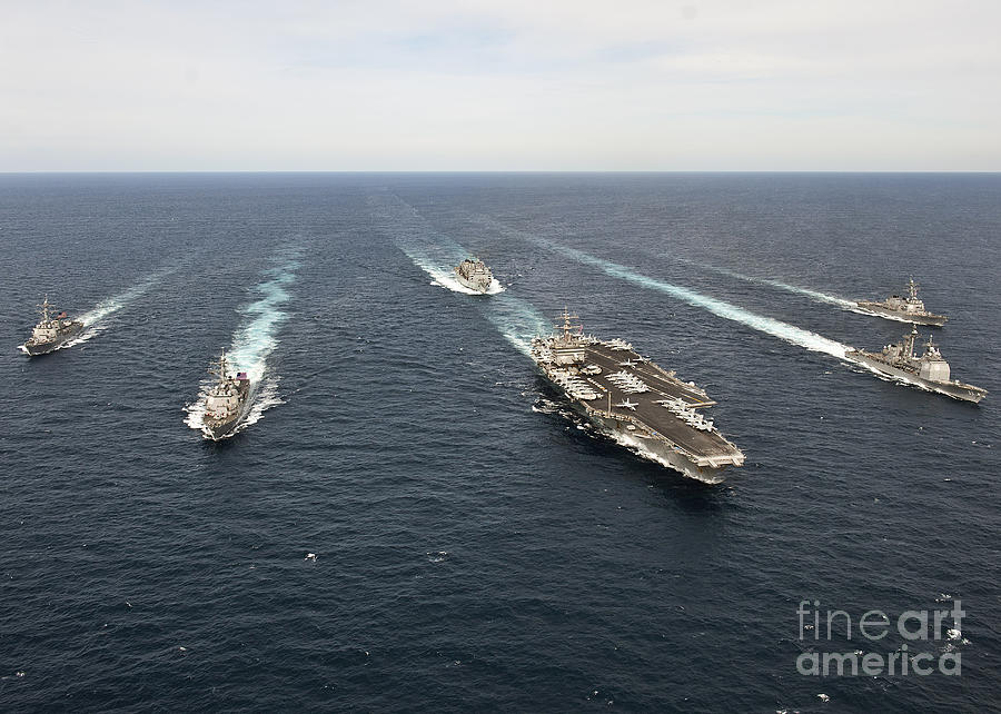 Atlantic Ocean Photograph - The Enterprise Carrier Strike Group by Stocktrek Images