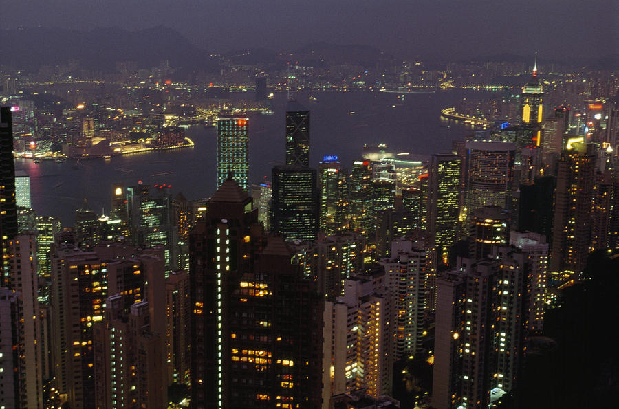 Asia Photograph - The Hong Kong Skyline Seen by Justin Guariglia