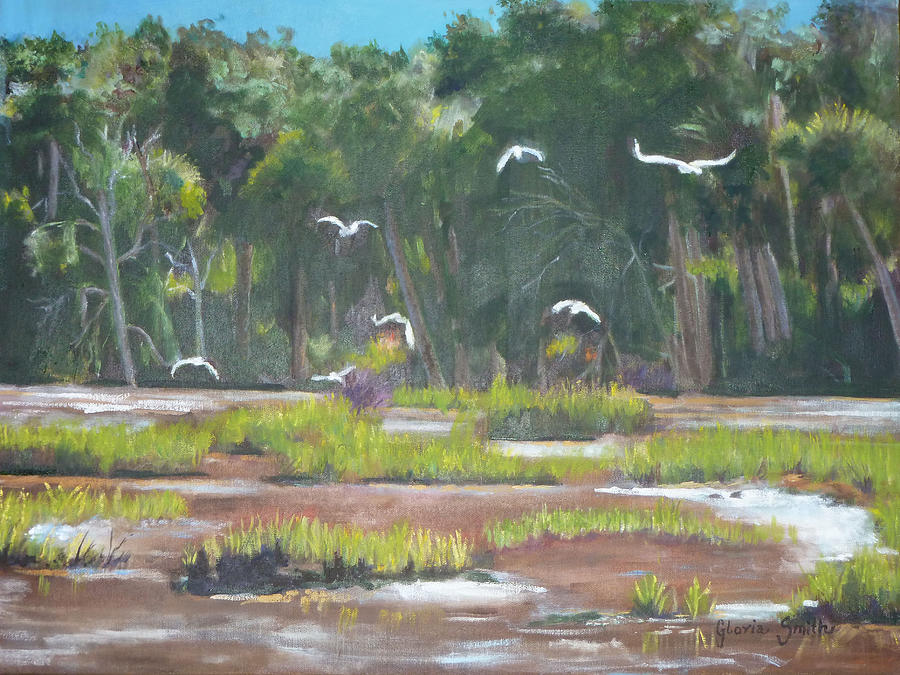 Landscape Painting - The Marshes by Gloria Smith