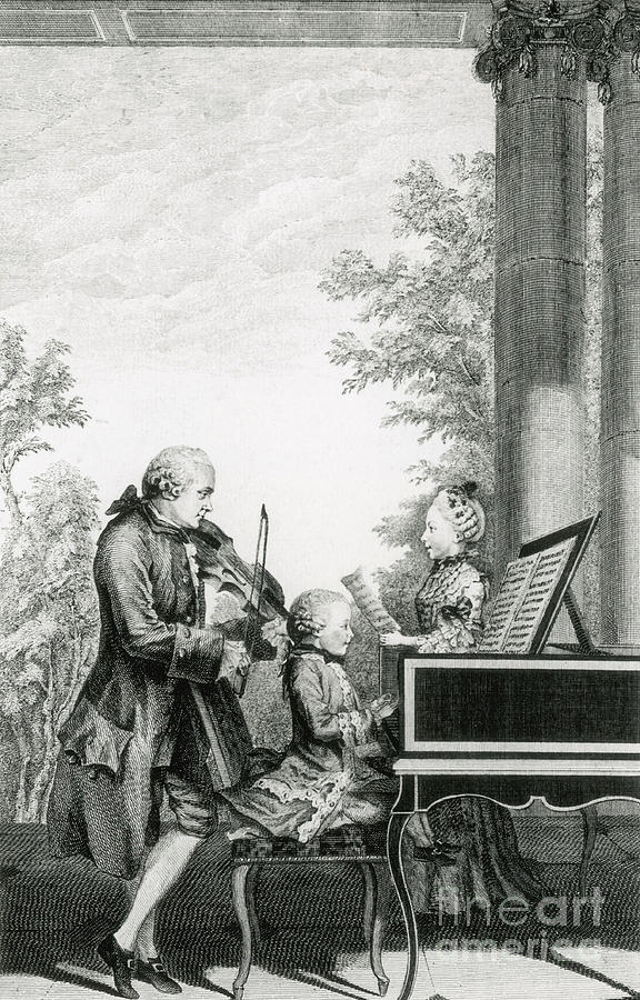 History Photograph - The Mozart Family On Tour, 1763 by Photo Researchers