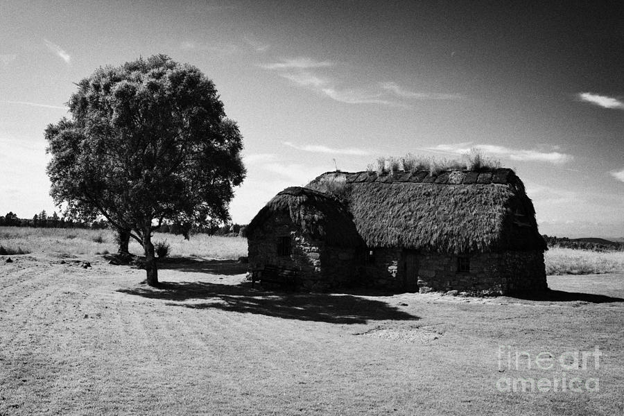 Old Photograph - the old leanach cottage on Culloden moor battlefield site highlands scotland by Joe Fox
