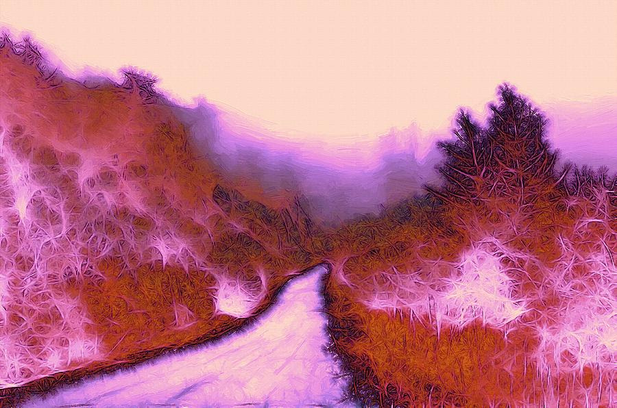 Red Weed Forest Abstract Wood Tree Bush Fog Mist Mystery Mystic Color Colorful Painting - The Red Weed  by Steve K