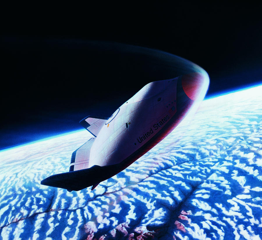 Horizontal Photograph - The Space Shuttle Re-entering The Earths Atmosphere by Stockbyte