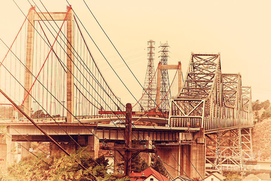 Retro Photograph - The Two Carquinez Bridges At Crockett And Vallejo California . Aka Alfred Zampa Memorial Bridge . 7d8919 by Wingsdomain Art and Photography