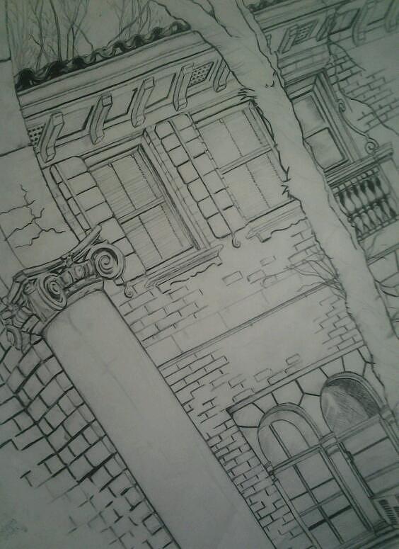 Brick Building Drawing - The View by Nzephany Madrigal Uzoka