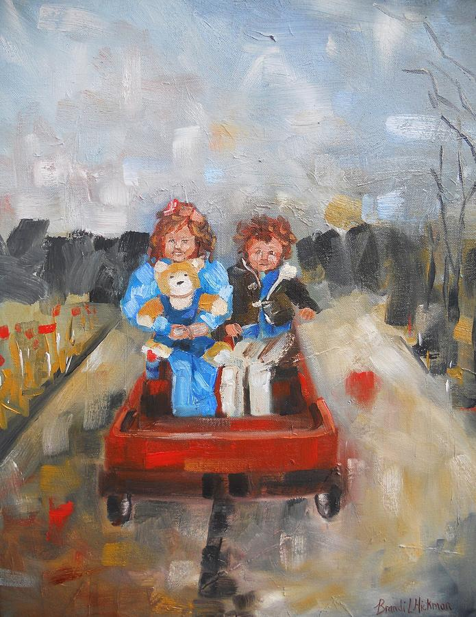 Children Painting - The Wagon Ride by Brandi  Hickman