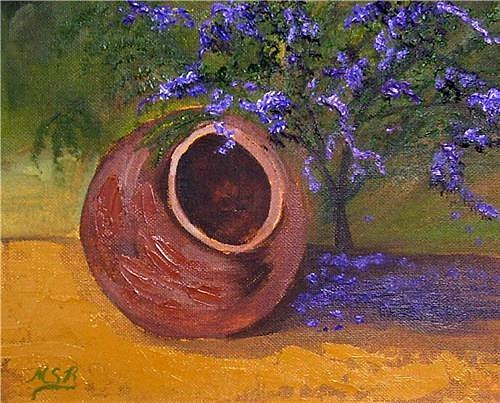 Earthen Jar Painting - Tinajon And Purple Bougainvillea by Maria Soto Robbins