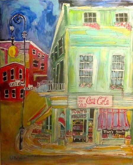 New York Streets Painting - Tonys Fruit Store by Michael Litvack