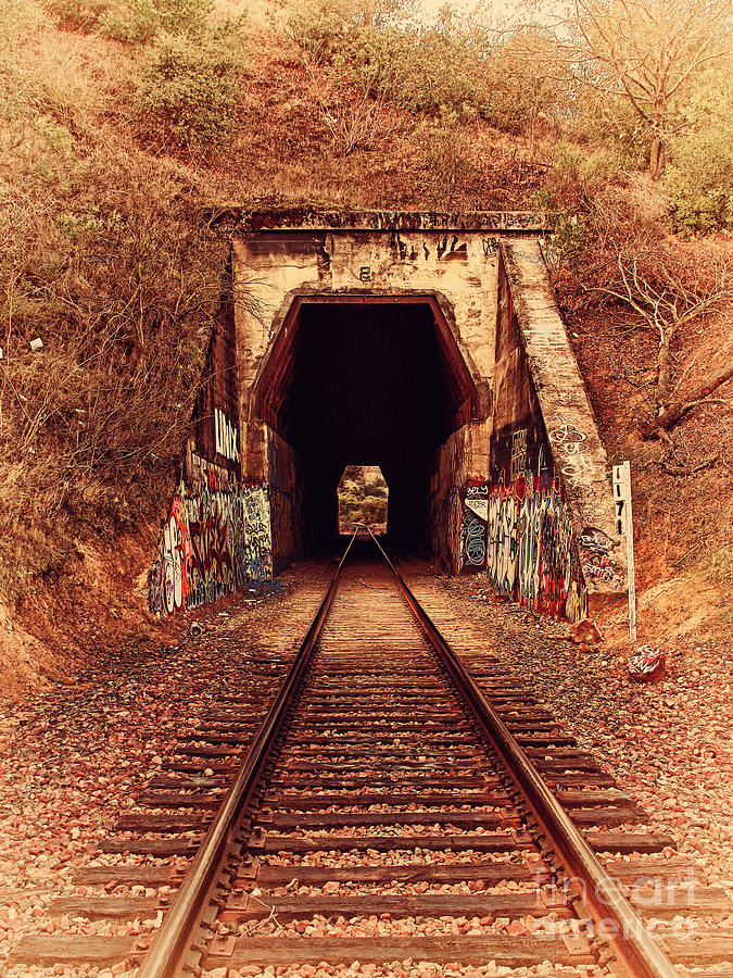 Retro Photograph - Train Tunnel At The Muir Trestle In Martinez California . 7d10220 by Wingsdomain Art and Photography