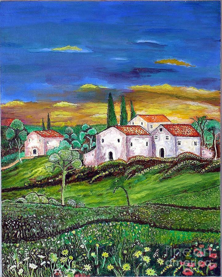 Acrylic Painting Painting - Tuscany by Kostas Dendrinos