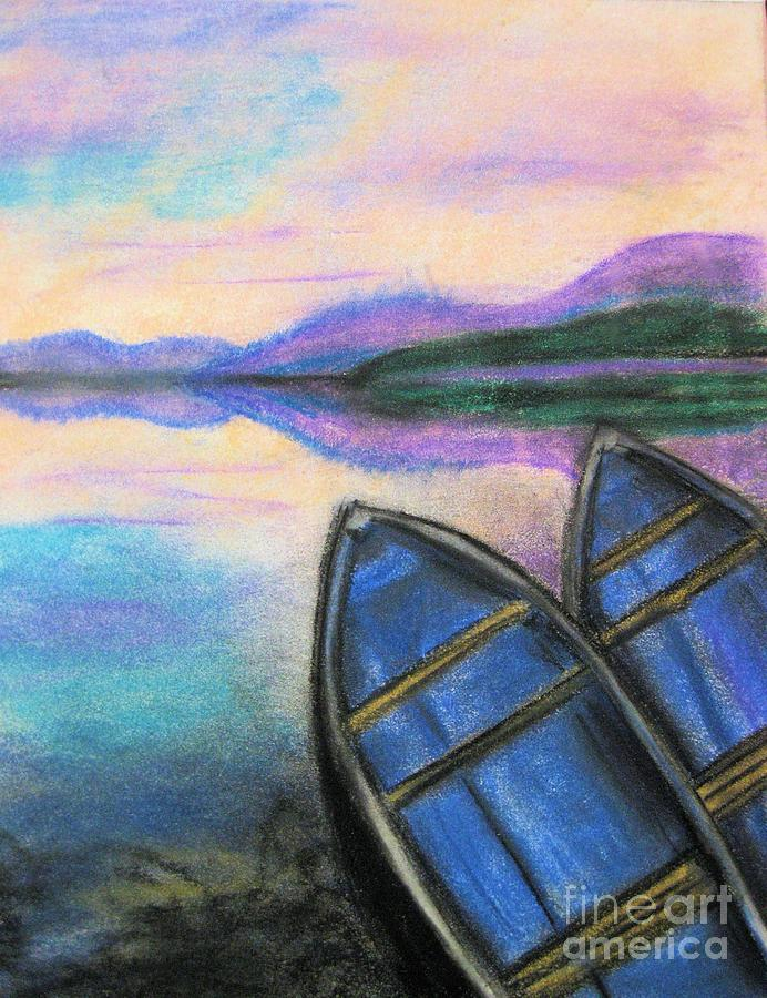 Boats Pastel - Twilight At Rest by Judy Via-Wolff