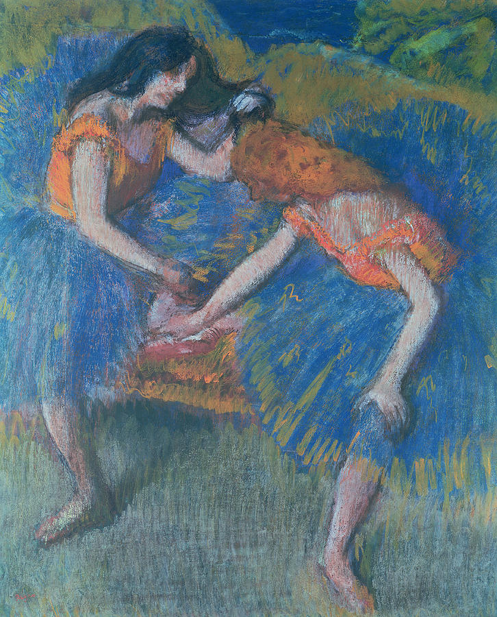 Impressionism Pastel - Two Dancers by Edgar Degas