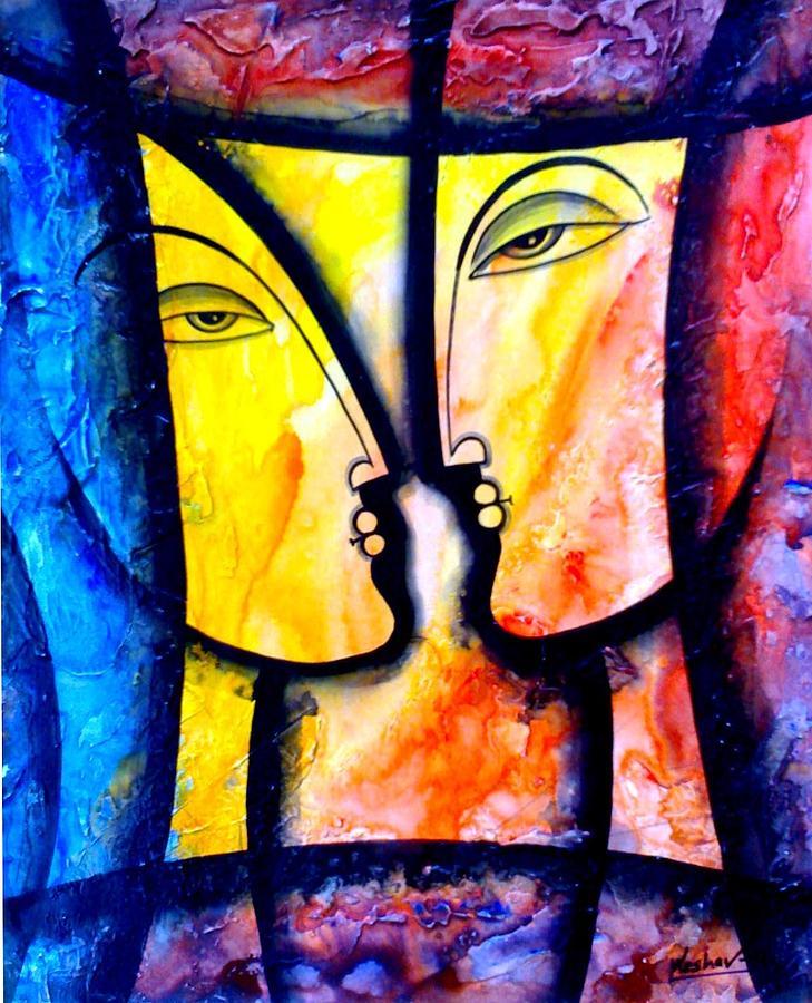 Two Women Painting by Keshaw Kumar