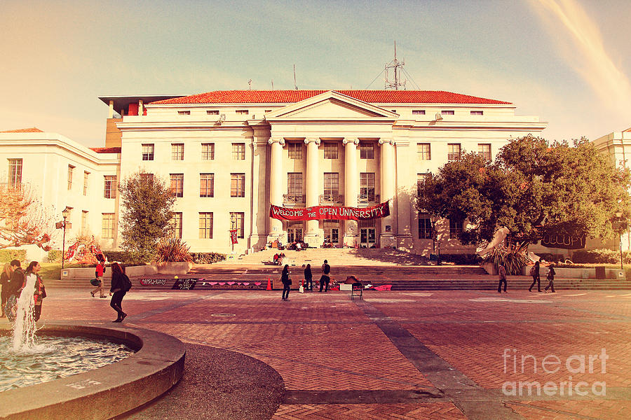 Retro Photograph - Uc Berkeley . Sproul Hall . Sproul Plaza . Occupy Uc Berkeley . 7d9994 by Wingsdomain Art and Photography