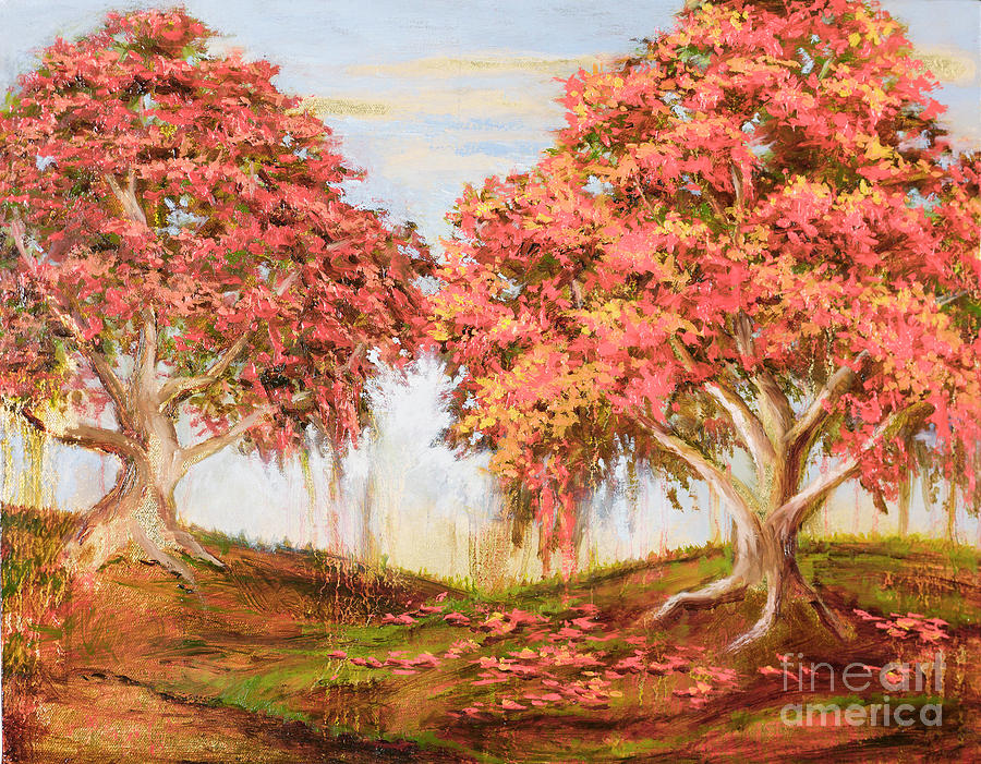 Orange Trees Painting - Under The Trees by Vic  Mastis