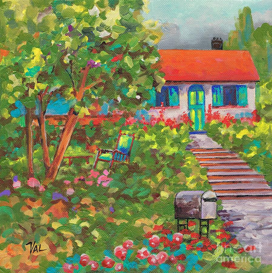 Cottage Painting - Up The Garden Path by Val Stokes