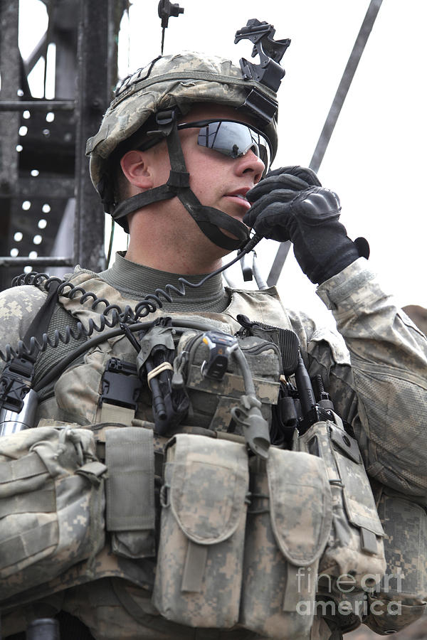 Afghanistan Photograph - U.s. Army Soldier Communicates by Stocktrek Images