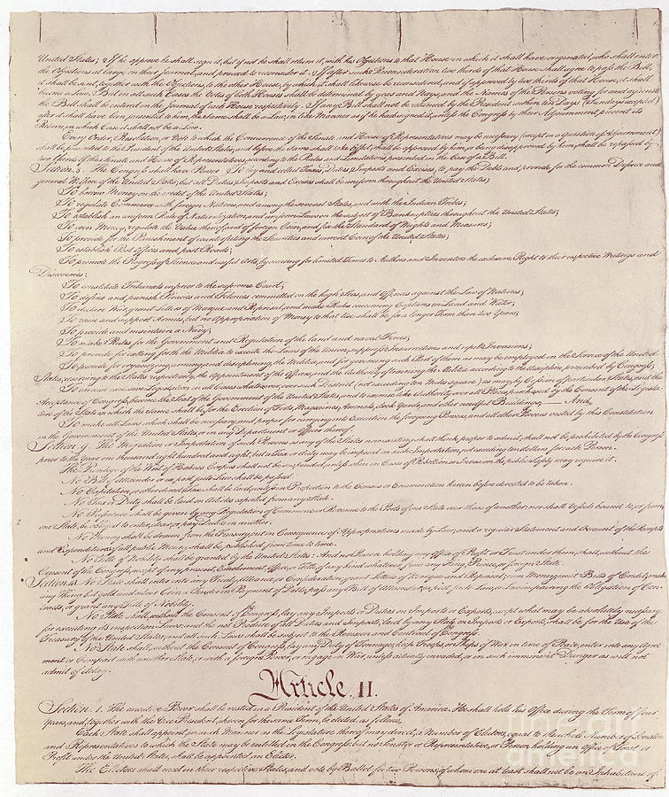 Constitution Photograph - Us Constitution by Photo Researchers