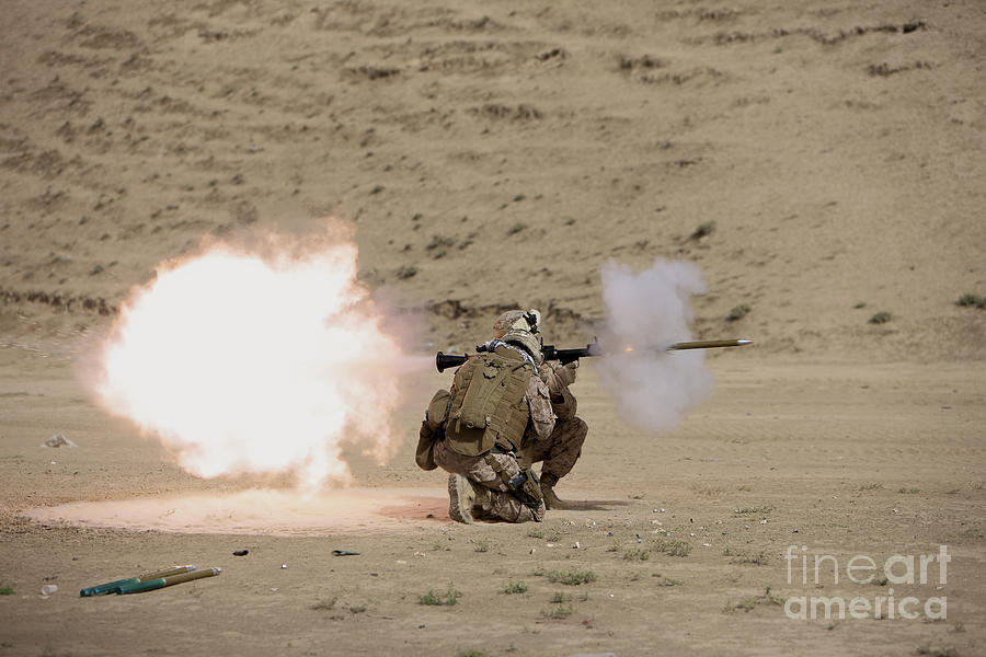 Afghanistan Photograph - U.s. Marine Fires A Rpg-7 Grenade by Terry Moore