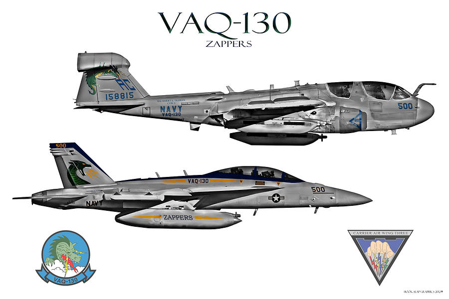 Aircraft Digital Art - Vaq-130 Prowler And Growler by Clay Greunke