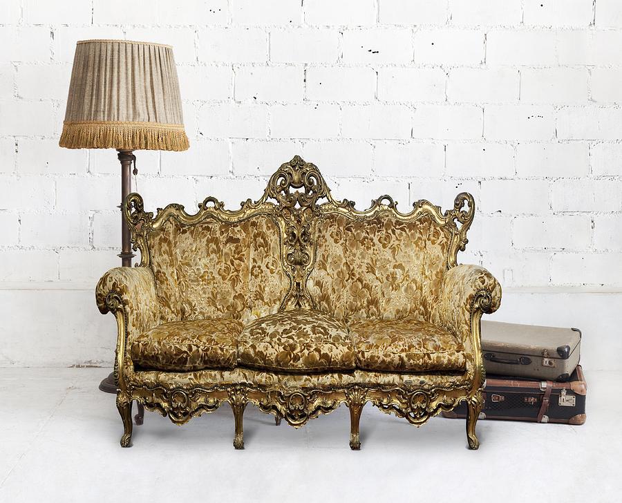 Antique Photograph - Victorian Sofa In White Room by Setsiri Silapasuwanchai