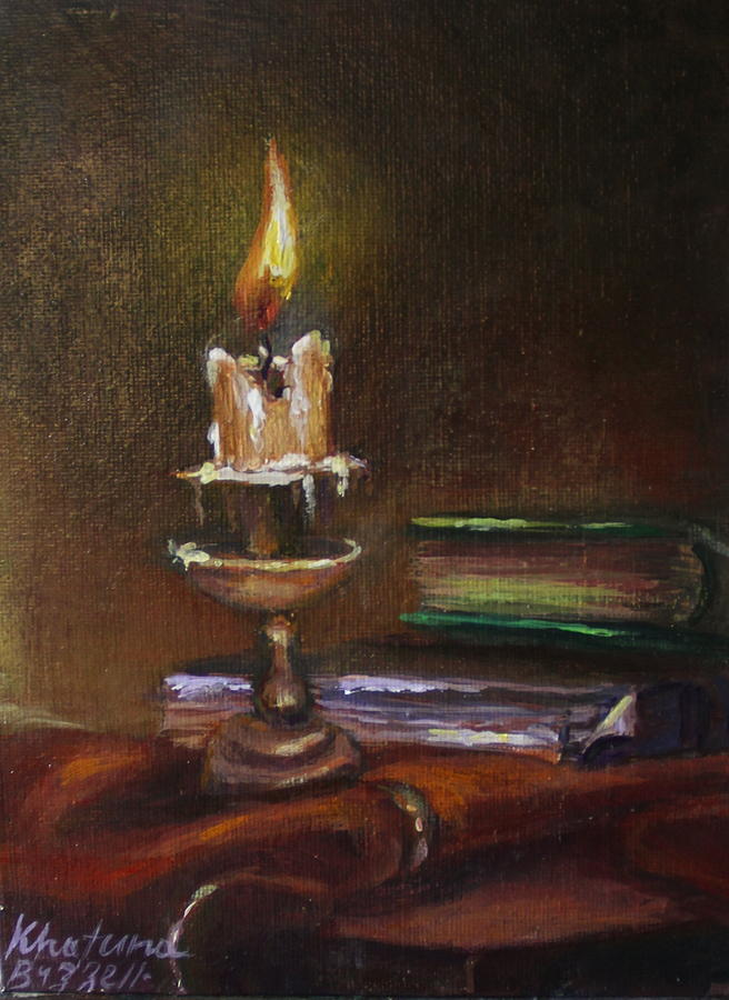Vintage Candle Still Life Painting By Khatuna Buzzell
