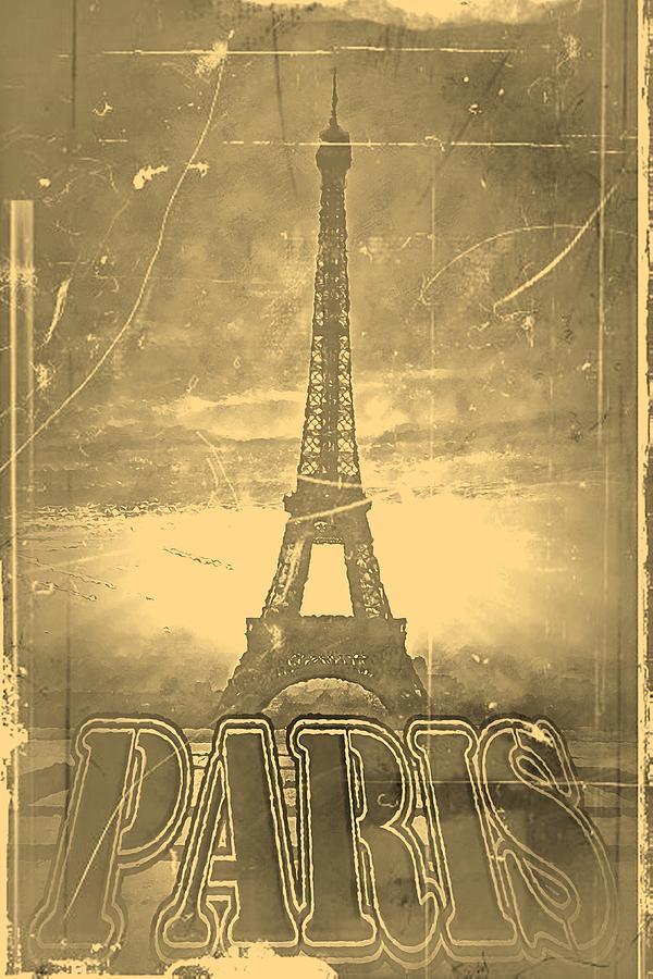 Vintage Eiffel Tower Paris Painting By Nhan Ngo