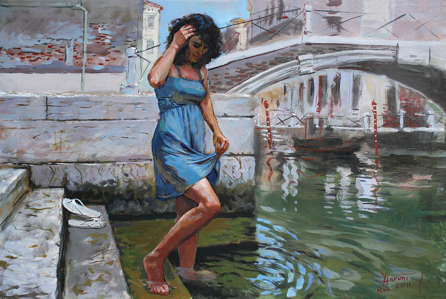 Lady Painting - Viola In Venice 1 by Ylli Haruni