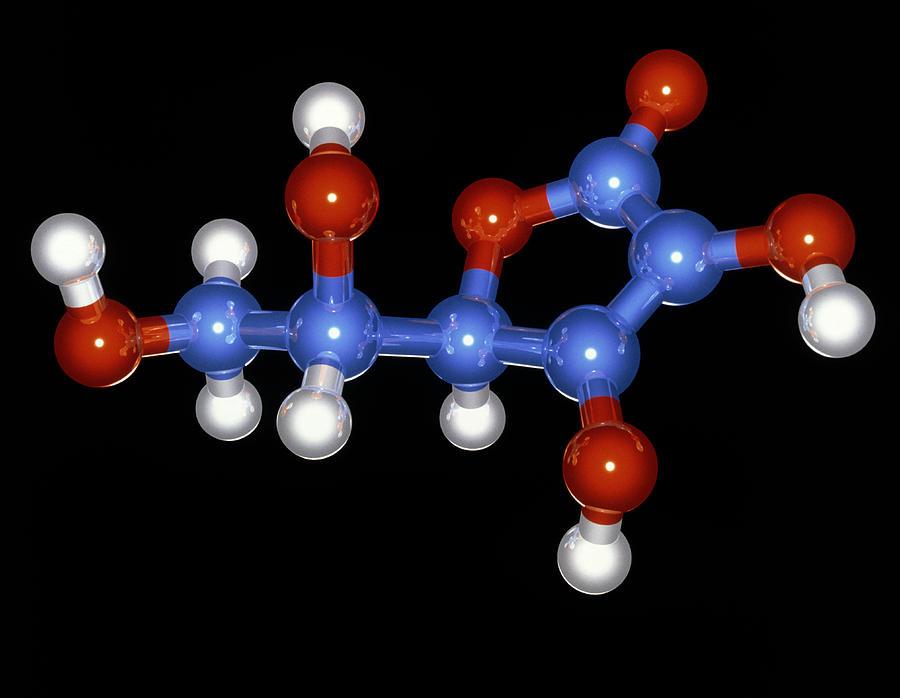 Ascorbic Acid Photograph - Vitamin C Molecule by Laguna Design