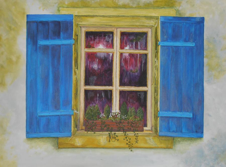French Window Shutters Painting - Viva Le Bleu by Siobhan Lawson