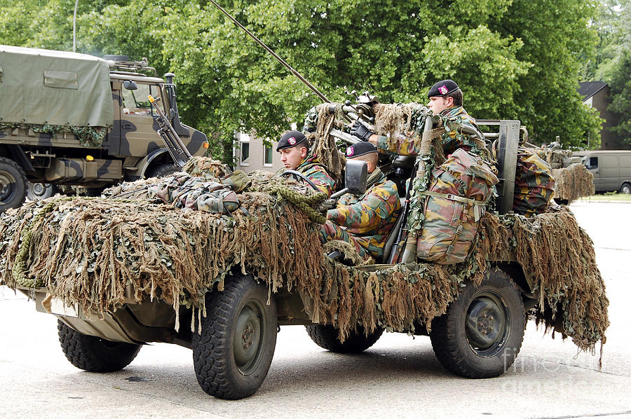 Action Photograph - Vw Iltis Jeeps Used By Scout Or Recce by Luc De Jaeger