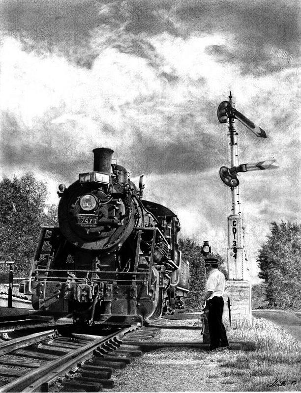 Railroads Drawing - Waiting The Signal by Matt DArco