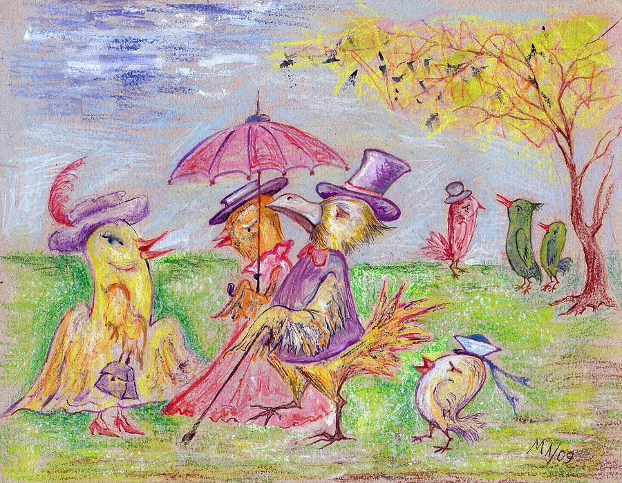 Pastel Drawing - Walk by Milen Litchkov
