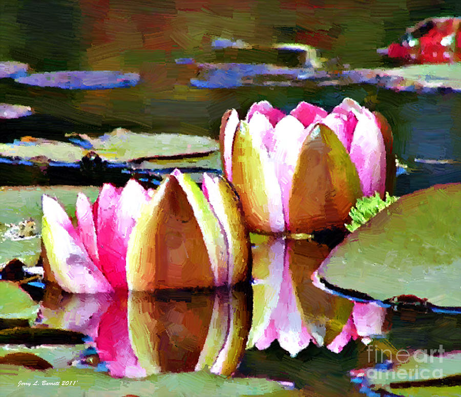 Brown Mixed Media - Water Lillies by Jerry L Barrett