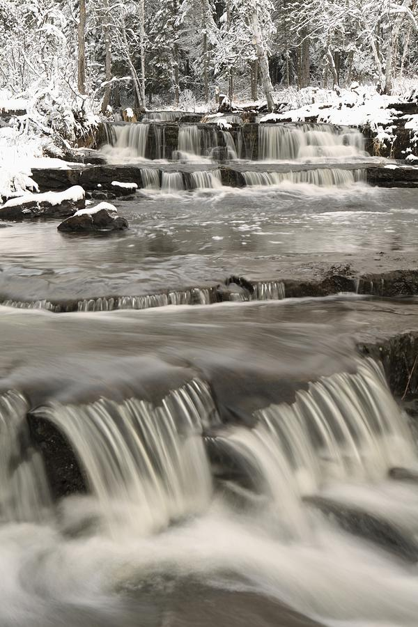 Cascade Photograph - Waterfalls With Fresh Snow Thunder Bay by Susan Dykstra