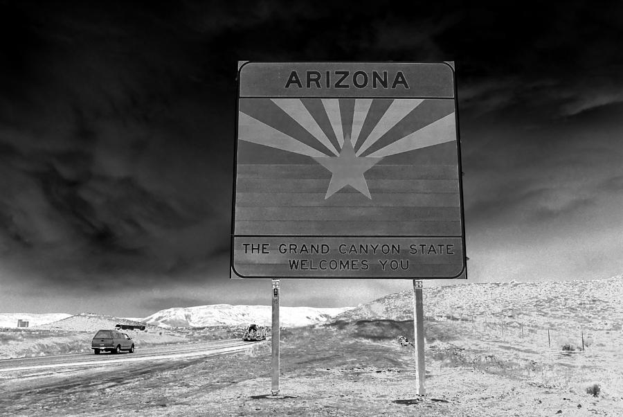 Black And White Photograph - Welcome Sign by David Lee Thompson