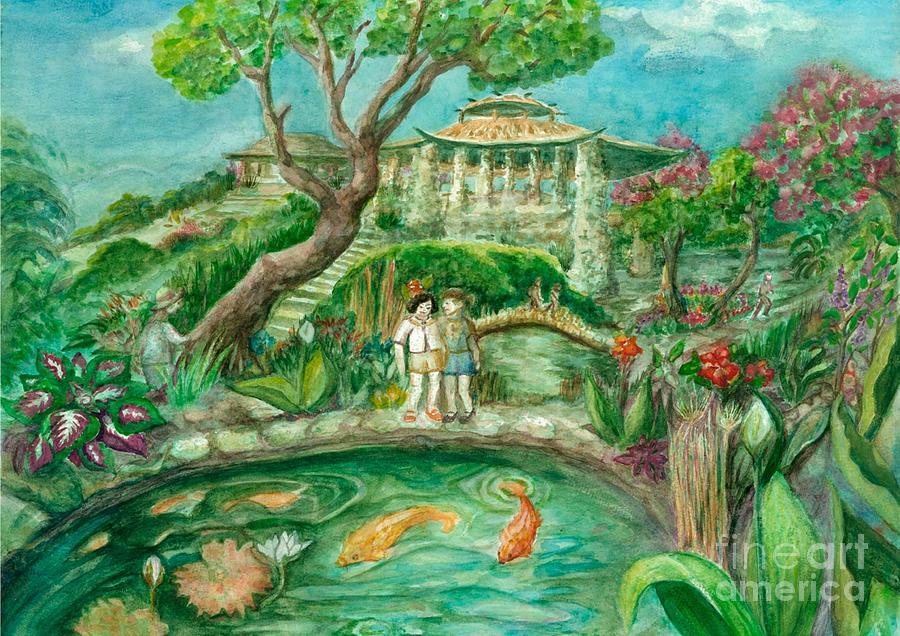 Garden Scene Painting - Were In Wonderland by Lynn Maverick Denzer