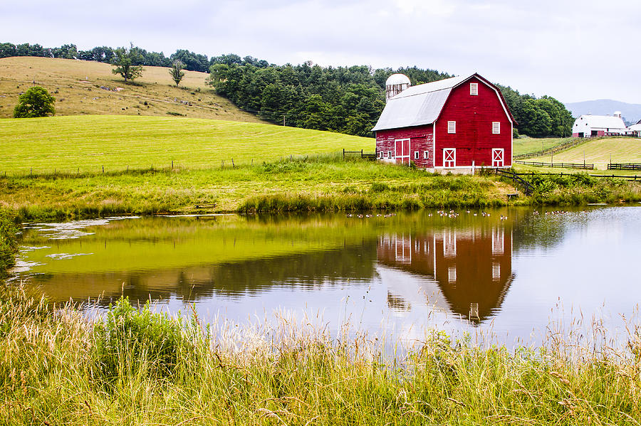 West Virginia Barn Reflected In Pond Photograph by Bill ...